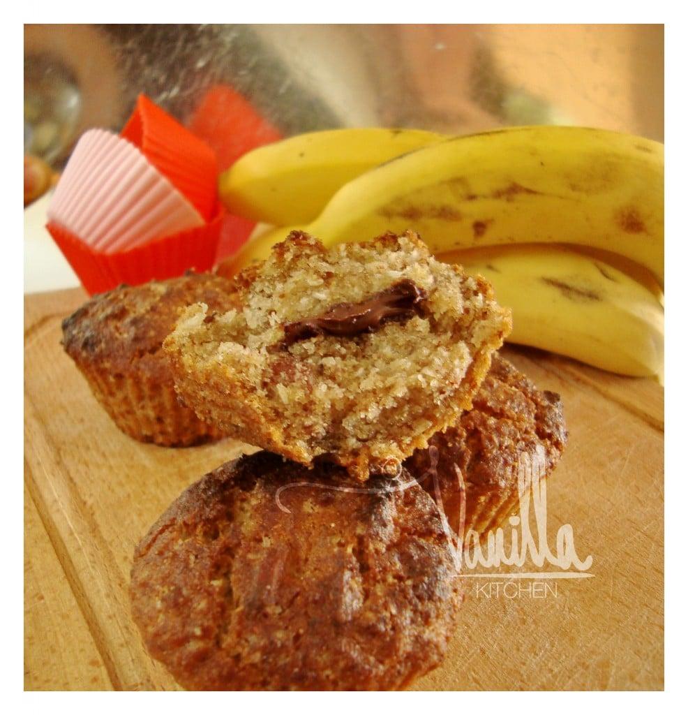 Безглутенови бананови мъфини с шоколадово сърце